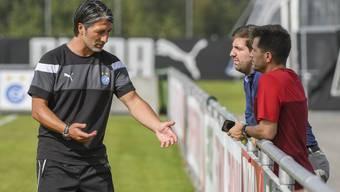 CEO Manuel Huber (M.) und Sportchef Mathias Walther (r.) sollen bei der Verpflichtung des GC-Trainers Murat Yakin keine Hauptrolle gespielt haben.