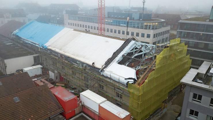 Nächste Woche wird das neue Überdach auf die Alte Reithalle in Aarau montiert.