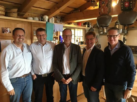 v.r.n.l. Stapi Bachmann, NR Brunner, NR Egloff, GR Lips und KR Burtscher.