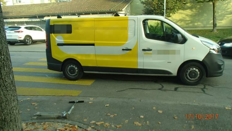 Dieser Lieferwagen erfasste den 8-jährigen Knaben auf der Staffelstrasse.