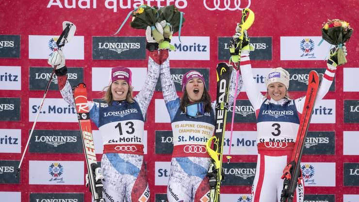 Das Podest: Holdener gewinnt Gold vor Gisin (l.) und Kirchgasser (r.).