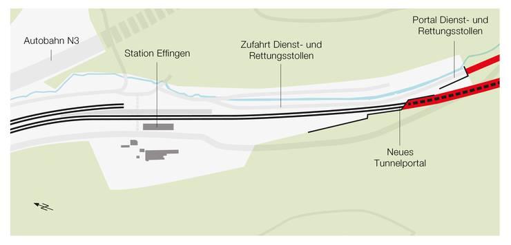 Plan des Tunnelausgangs in Effingen nach dem Neubau