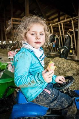 Tret-Traktoren im Stall stehen den Kindern zur Verfügung.