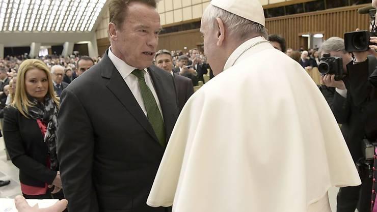 Arnold Schwarzenegger am Mittwoch im Vatikan mit Papst Franziskus im Rahmen einer Generalaudienz.