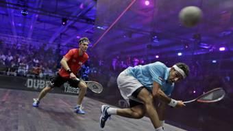 Mohamed El-Shorbagy (im blauen Dress) in Action