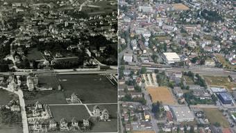 Zwei Luftaufnahmen von Grenchen Süd aus etwa gleicher Position.