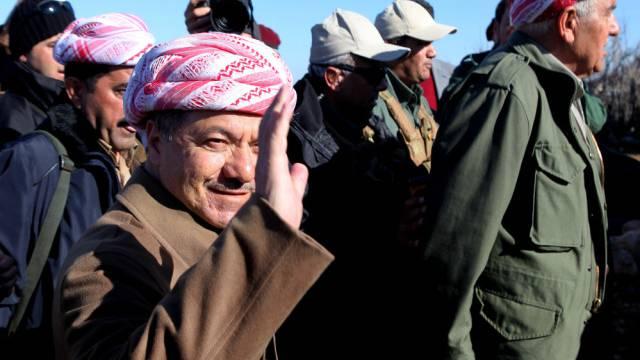 Kurdenpräsident Barsani besucht das Sindschar-Gebirge