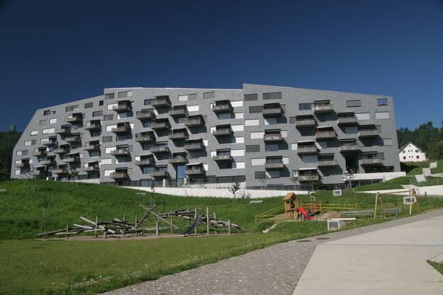 Von lindgrünen Schieferplatten bedeckt, steht das Projekt «Vista Verde» der Baugenossenschaft Zurlinden in Leimbach. Entworfen wurde der viel beachtete 54-Mio-Franken-Bau von den Zürcher «Pool Architekten».