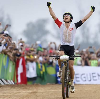 Auf dem Zenit: Schurter gewinnt nach Olympia-Bronze 2008 und -Silber 2012 in Rio Gold.