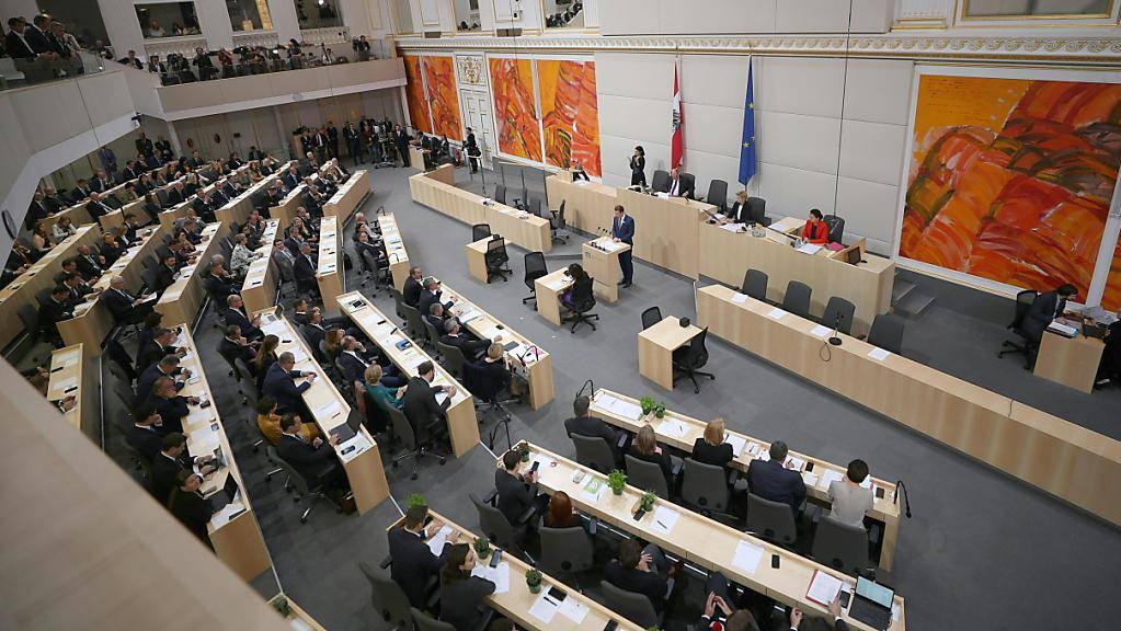 Eine Übersichtsaufnahme während der konstituierenden Sitzung des Nationalrats in Wien.