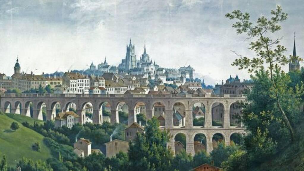 Lausanne ums Jahr 1800. Später wurde das Tal des Flon mitsamt der unteren Bogenreihe des Grand-Pont aufgeschüttet. Nun soll über dem unterirdischen  Flussgewölbe eine neue Metrostation gebaut werden. Das ist eine komplexe Aufgabe, wie eine Diplomandin der ETH Lausanne (EPFL) nachgewiesen hat (EPFL)