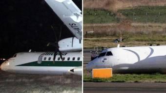 Vorher - nachher: Alitalia überpinselt das Logo der Unglücksmaschine.