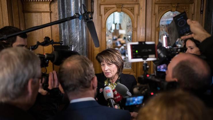 Doris Leuthard nach ihrem letzten Auftritt als Bundesrätin im Nationalrat am Dienstag, 11. Dezember 2018 in Bern.