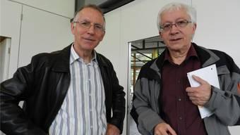 Urs Pilgrim (links, mit Gastgeber Markus Strebel): «So wie wir heute unsere Kunstobjekte dem Publikum zeigen, geht es nicht mehr. Wir müssen neue Wege gehen.»