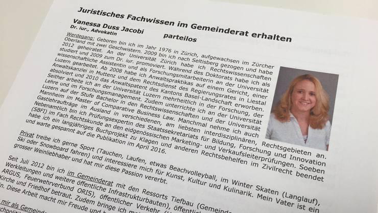 Die Seltisberger Gemeinderätin Vanessa Duss tritt zum zweiten Wahlgang an.