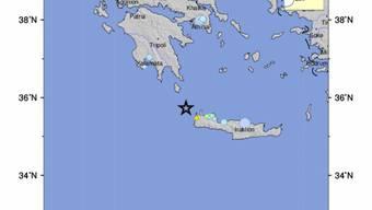 Die Grafik des US-Erdbebeninstituts zeigt das Epizentrum des Erdbebens in Griechenland.