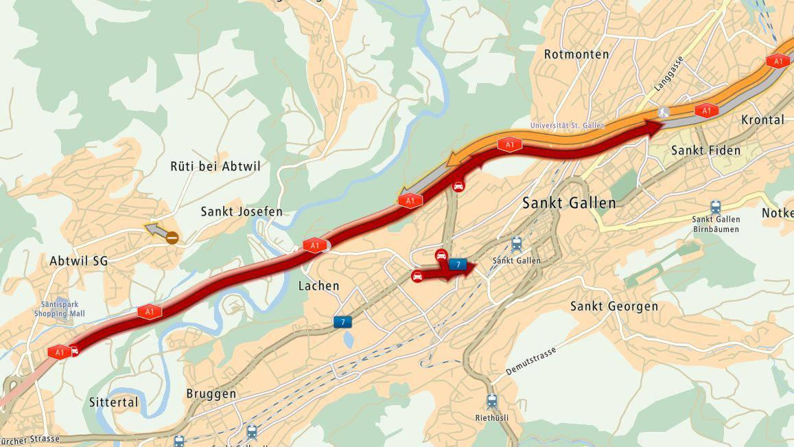 Auf der Stadtautobahn in St.Gallen staute es am Montagmorgen.