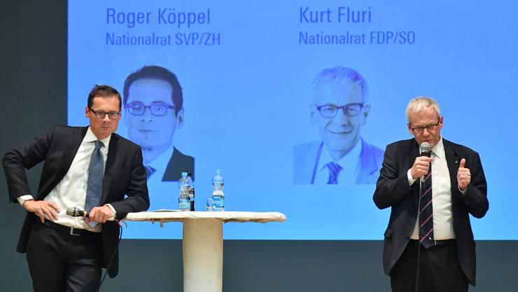 Bereits 2018 besuchte Roger Köppel eine Versammlung der FDP Kanton Solothurn - damals ging es um die Selbstbestimmungsinitiative. Wie aktuell bei der Begrenzungsinitiative vertrat Köppel die Pro-, Kurt Fluri die Konra-Seite.