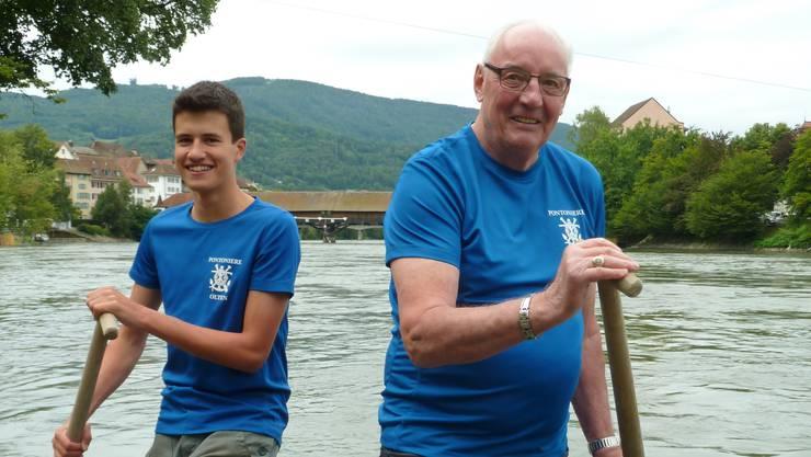 Timon Hügli (links) und Martin Brugger: 53 Lebensjahr liegen zwischen den beiden aktiven Pontonieren.