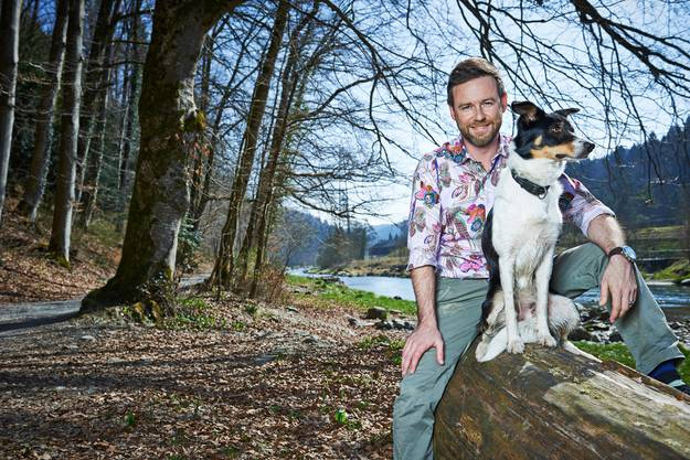 Nik Hartmann mit Border-Collie-Hündin Oshkosh.