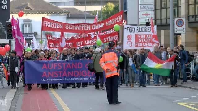 Aufstand der Anständigen: Demonstration gegen Fremdenfeindlichkeit in Aarau.