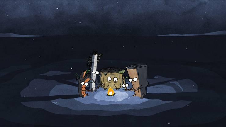 Im Animationsfilm «Timber» (2014) wärmen sich vier Holzscheite am Feuer.