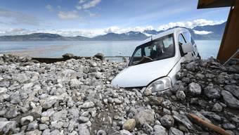 Dauerregen in der Schweiz: Walliser Dorf verwüstet