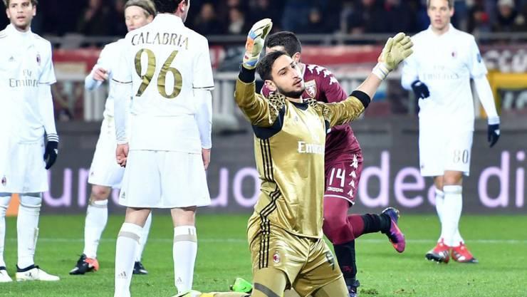Milans Goalie Gianluigi Donnarumma konnte sich am Ende doch über einen Punkt freuen