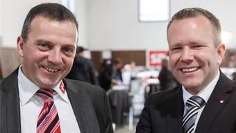 Ständeratskandidat Walter Wobmann und Präsident Silvio Jeker am 18. Oktober. Das gute Wahlergebnis beflügelt die Partei für den zweiten Wahlgang. (Archiv)