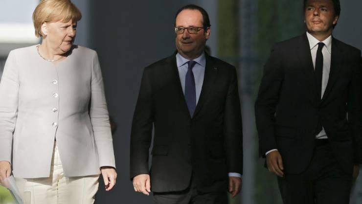 Merkel, Hollande und Renzi waren bereits im Juni zu Beratungen nach dem Brexit-Votum zusammengekommen. (Archiv)