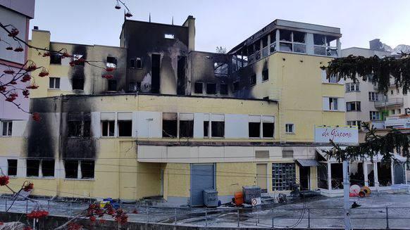 Das Hotel am Tag nach dem Grossbrand