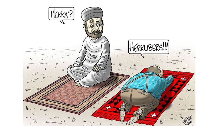 Die Karikatur des Jahres 2015 von Silvan Wegmann (Swen) mit dem Beitrag «Mekka»