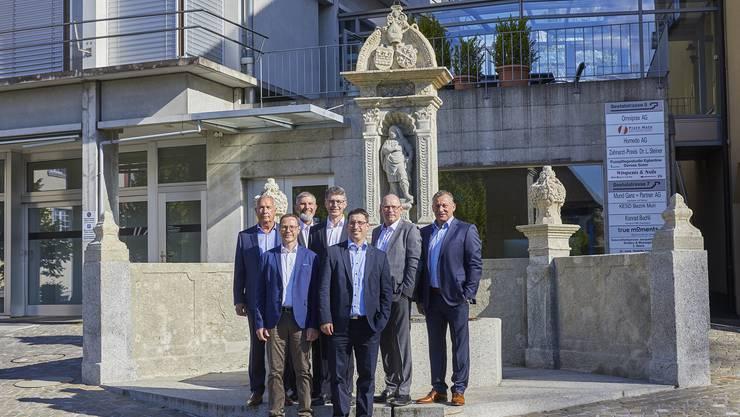 von links nach rechts: Michael Ebeling, Thomas Rubin, Günter Trost, Tobias Knecht, Stefan Huwyler (bisher), Jörg Ilg, Alexander Eigensatz