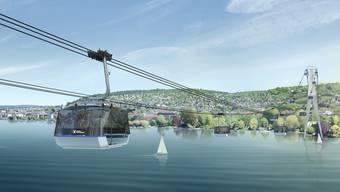 Auf beiden Seeuferseiten sollen zwei 75 Meter hohe Masten ungefähr 50 Meter in den See hinein gebaut werden. (Visualisierung)