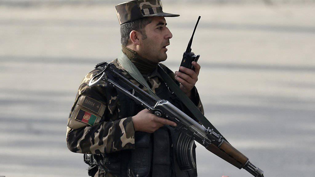 Afghanischer Sicherheitsmann nach dem Anschlag in Kabul (Aufnahme vom 25. Dezember 2017, aktuelle Bilder sind noch keine vorhanden).