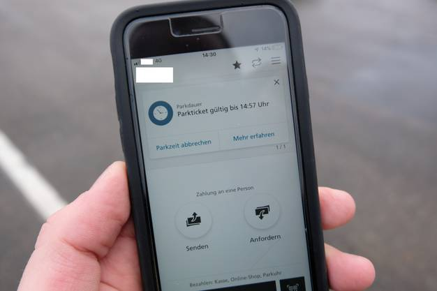 Die Twint-App zeigt nun an, dass man einen Parkplatz bezahlt hat. Tippt man auf das entsprechende Feld ...