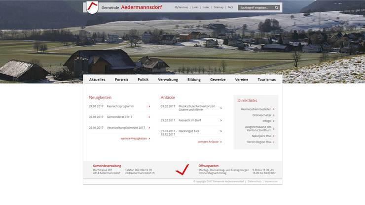 So sieht die neue Website von Aedermannsdorf aus.