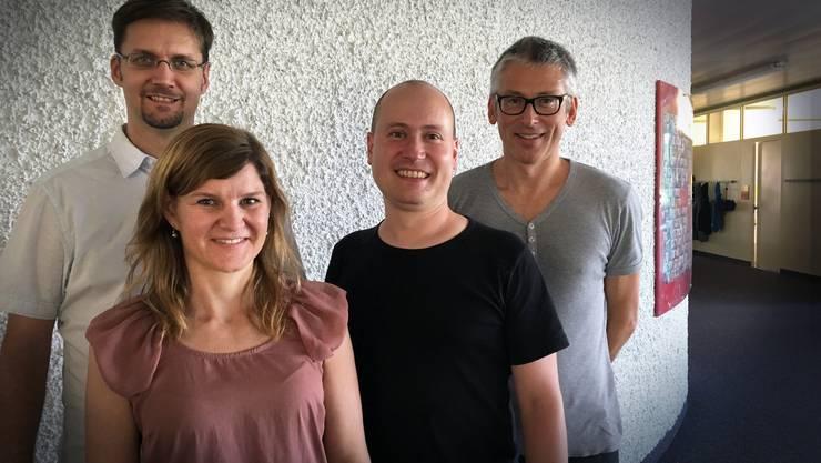 (v.l.n.r.): Ronny Standtke, Sibylle von Felten,  Rolf Lang  und Jörg Graf von der Fachhochschule Nordwestschweiz, bzw. von Kultur macht Schule.