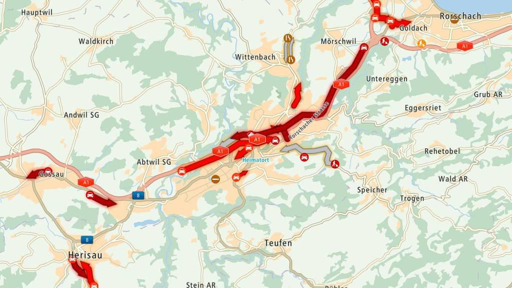 Auf der A1 St.Gallen in Richtung Zürich staut es.