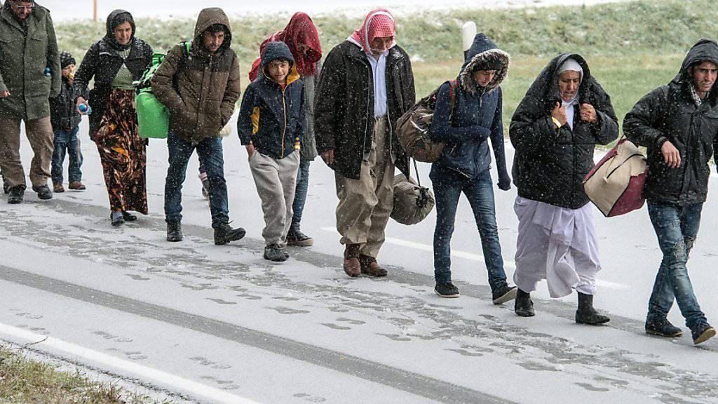 Flüchtlinge nähern sich zu Fuss der österreichisch-deutschen Grenze. (Archivbild)