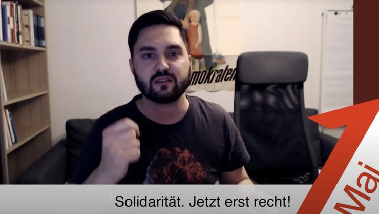 Nationalrat Cédric Wermuth spricht in seiner Video-Grussbotschaft.