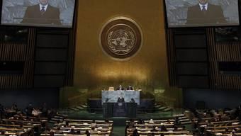 Blick in die UNO-Vollversammlung: Am Rednerpult Deutschlands Aussenminister Guido Westerwelle