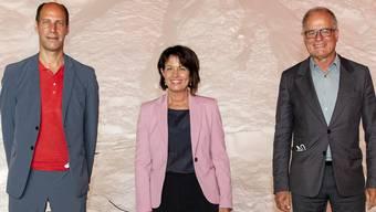Uni-Professor Manuel Herz, Doris Leuthard, ehemalige Bundesrätin, und Star-Architekt Pierre de Meuron: der Juryrat von «Svizra27».