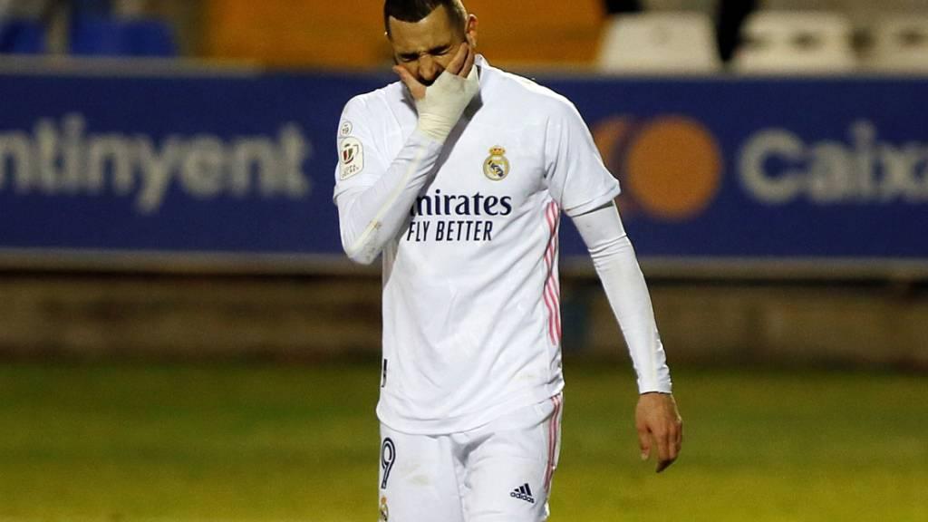 Real Madrid (hier Karim Benzema) blamierte sich gegen einen Drittligisten
