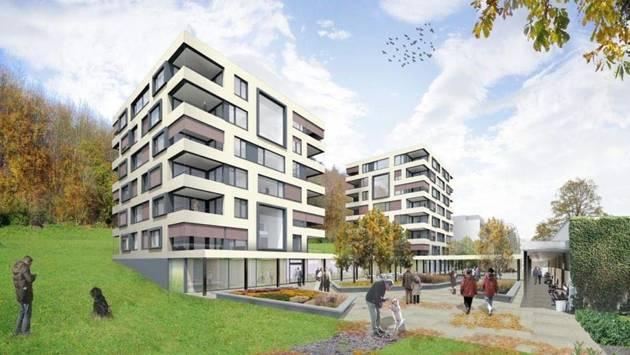 Visualisierung des geplanten Neubaus: Das Hochhaus muss den Neubauten weichen.