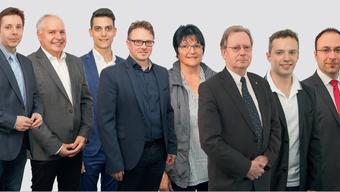 Von links: Daniel Adam, Robert Baranyai, Riccardo Sturzo, Roger Siegenthaler, Lisa Berger, Kuno Tschumi, Florian Broghammer und Michael Käsermann.