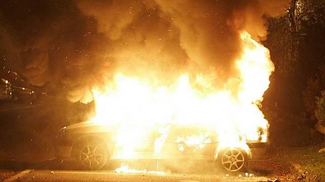 Elf Autos in Brand gesetzt (Archiv)