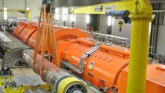 Der Rotor des neuen Generators vor dem erstmaligen Einbau Anfang Mai 2013
