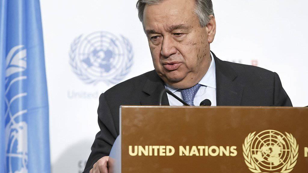 Ein enttäuschter Antonio Guterres: Am Freitag hat der UNO-Generalsekretär in Crans-Montana VS die Zypern-Gespräche für gescheitert erklärt. Nun soll sich der UNO-Sicherheitsrat damit befassen.