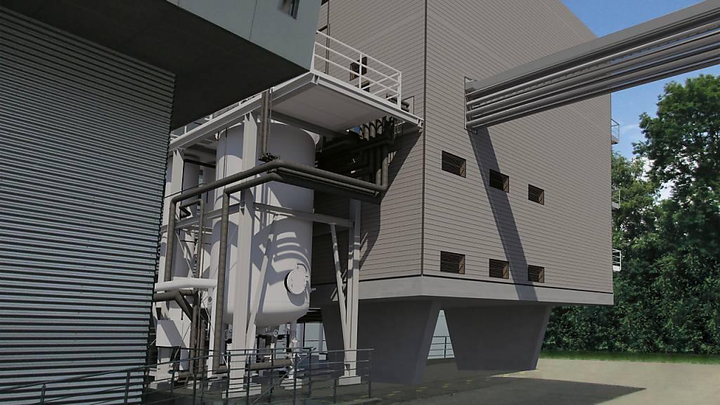 So soll die erste industrielle Power-to-Gas-Anlage der Schweiz aussehen. Die Inbetriebnahme ist im Herbst 2021 geplant. (Visualisierung)